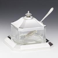 Sterling Silver Honey Dish w/glass and tray