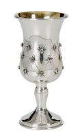 flower design sterling  Silver Kiddish Cup