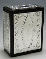 silver plate and wood  Charity boxes