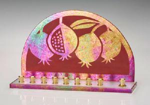 art glass pomagranite  menorah