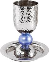 kiddush cup set with large colored ball in blue