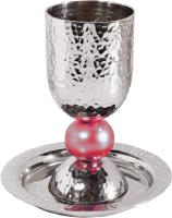 kiddush cup set with large colored ball in pink