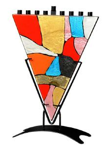 triangle stained glass  menorah