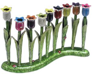 tulip glass pomagranite  menorah