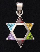 Triangle Stones Star of David Pendant