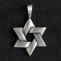 Pewter Jewish Star Necklace
