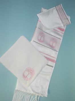 Pink and silver tallit set