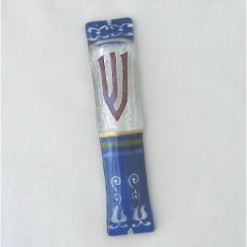 BLUE FUSED GLASS MEZUZAH CASESTAINED GLASS MEZUZAH