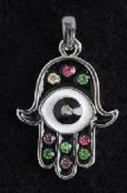 Jeweled Hamsa Necklace with Stones and evil eye