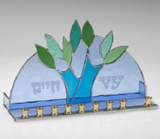 art glass tree menorah