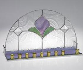 art nouveau glass pomagranite  menorah