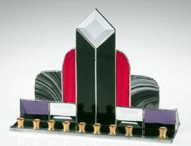 art  deco glass menorah