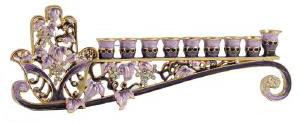 Jeweled pink hamsa menorah