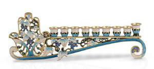 Jeweled blue hamsa menorah