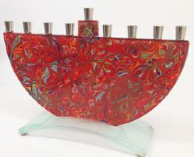 red glass pomagranite  menorah