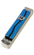 Blue glass Mezuzah