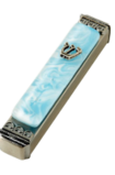 Ice Blue Glass Mezuzah