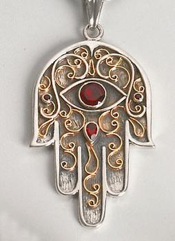 silver and gold hamsa pendant