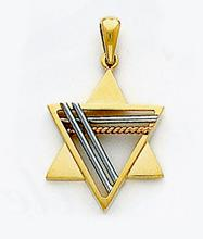 Blue Sapphires Two Tone Gold Jewish Star Pendant