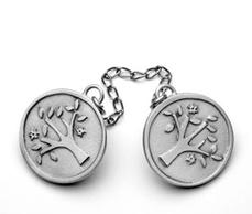 Round pewter Tree of Life Tallit Clip