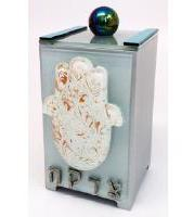 White Dust Hamsa Tzedakah Box