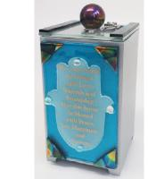 Blue glass Hamsa Tzedakah box