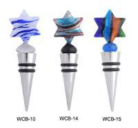 Fused Glass and Stainless Steel Star of David Wine Stoppers