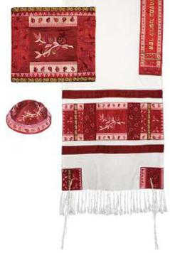 red and pink tallit set